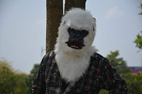 LUANAYUN-TOYS Realistic Animal Mask Handmade Halloween Moving Mouth Mask White Gorilla Mask Animal Carnival Wolf Masks Popular Animal Head Mask Animal Head Mask ( Color : White , Size : 2525 ) ()