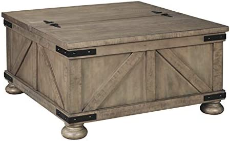 Aldwin Farmhouse Grey Storage Coffee Table With Pine Wood Amazon Ae