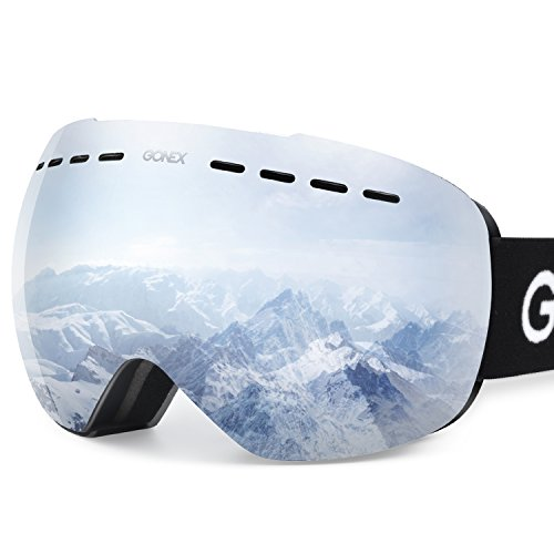 Gonex Professional Ski Goggles OTG Anti-fog Windproof UV Protection with Double Lens For Skiing Snowboard Skate Winter Sports+Goggle Case EVA Box Black Frame(Silver Lens)