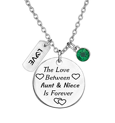 TISDA Birthstone Crystals Necklace,The Love between Aunt and Niece is Forever Necklace Family Jewelry Christmas Gift (May)