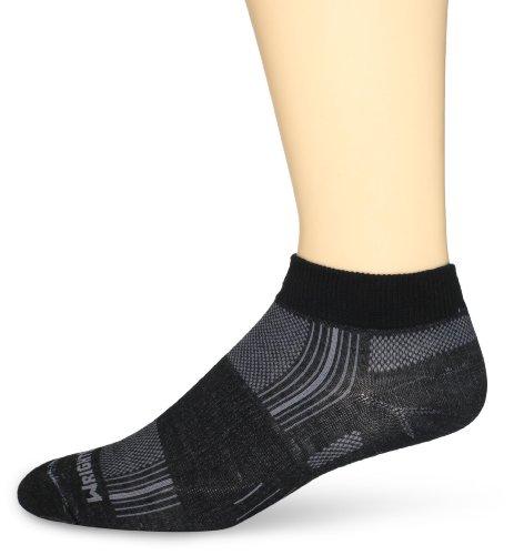 WrightSock Men's Stride Lo Single Pack, Black/Grey Stripe, Sock Size:10-13/Shoe Size: - Single Strides