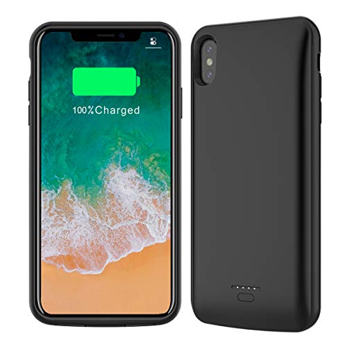 Battery Case Compatible with iPhone XS Max 2018, 5000mAh Rechargeable External Portable Battery Charger Pack Slim Extended Power Bank Backup Charging Protective Case for iPhone XS Max 6.5 inch (Black)