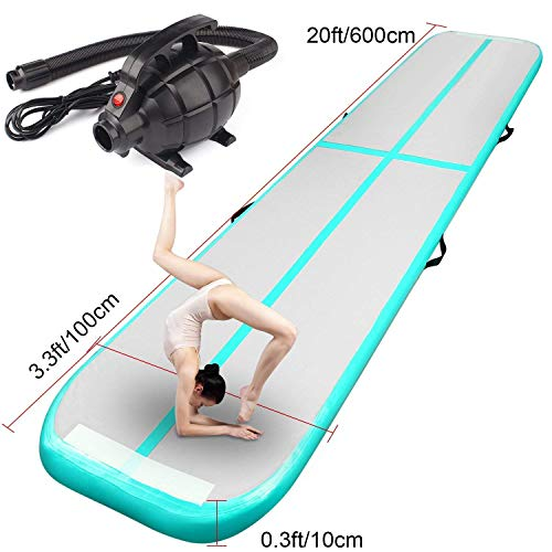 FBSPORT Gymnastics Gym Exercise Aerobics Mat Air Track Tumbling Mats for Home Use, Beach, Park and Water