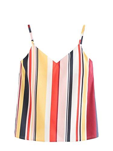 Colorblock Cami - Romwe Women's Colorful Striped Random Colorblock Print V Neckline Cami Top Multicolor 1 size XL