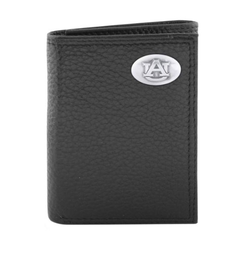 NCAA Auburn Tigers Black Pebble Grain Leather Trifold Concho Wallet, One Size