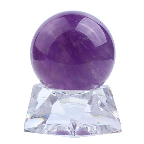Top Plaza Healing Crystal Polished Mineral 28mm 35mm Ball Sphere Feng Shui Aura Balance Stone With Acrylic Stand(35mm Amethyst)