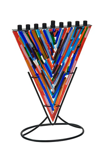 Quality Judaica Modern Triangle Fused Glass Menorah with Metal Stand (Multi)