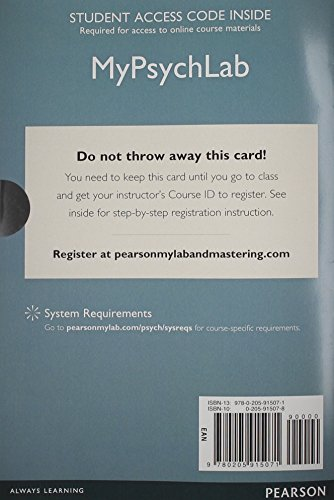 NEW MyLab Psychology  without Pearson eText -- Standalone Access Card -- for Psychology: From Inquiry to Understanding (3rd Edition)