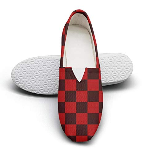Red checkerboard paper Classic Slip-ONS Women's Extra Light Flat Walking Sneakers Girls Espadrille Flats ()