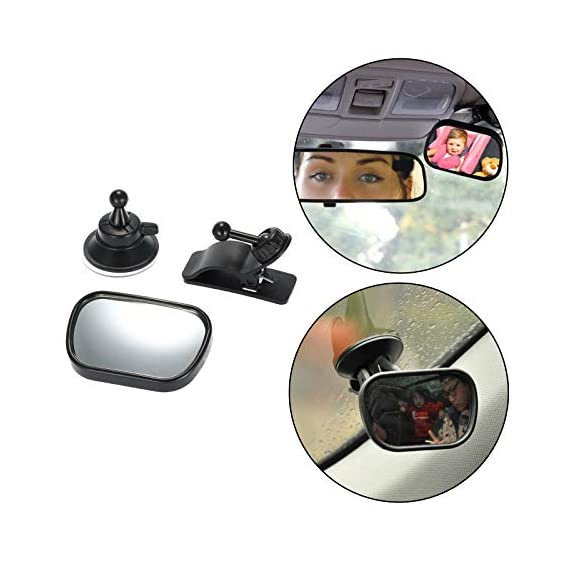 Safe-O-Kid 360 Degree Rear View Mirror (Black, Small)