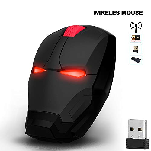 Cool Wireless Mouse Iron Man Mouse Ergonomic 2.4 G Portable Mobile Computer Click Silent Mouse Optical Mice with USB Receiver, Multi-Color Choosing for Notebook PC Laptop Computer Mac Book (Black) (Computer Mouse Wireless Cool)