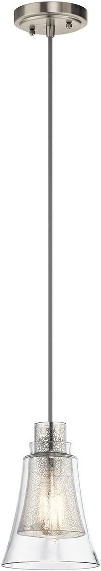 Kichler 43629NI, Evie Mini Cone Pendant, 1 Light, 75 Total Watts, Brushed Nickel