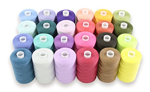 SEWING AID All Purpose Polyester Thread for Hand & Sewing Machine, Set of 24 Spools in Assorted Colors, 1000 yd Each, Best Quality at Economical Price