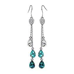Teardrop Crystal Three Colors Drop Earrings