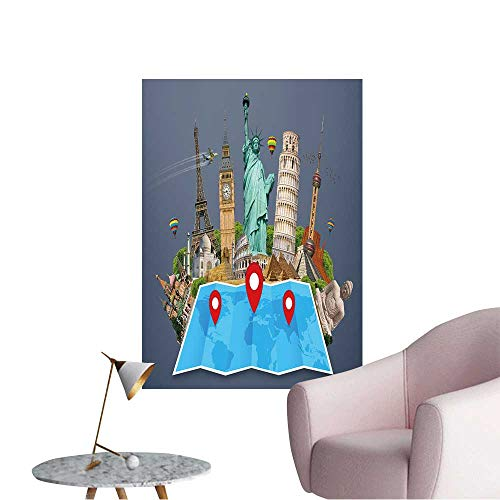 (Wall Stickers for Living Room Famous Monuments of The World grouped Together on a map with pin icon Vinyl Wall Stickers Print,20