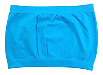 Tanco Usa Women's Seamless Sports Bra Mini Tube Top Fits S-Xl Baby Blue