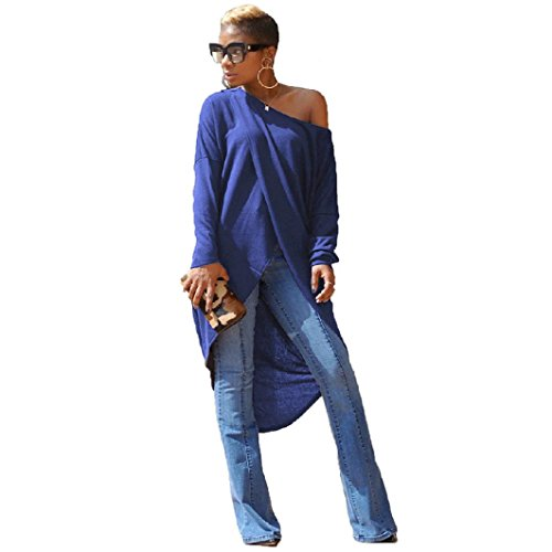 Price comparison product image Women Dress Daoroka Women's Sexy Off Shoulder Plus Size Slash Neck Club Casual Dress Cut Out Split Long Sleeve Cotton Loose Party Skirt Spring Autumn Fashion Solid Knee-Length Work Dress (2XL,  Blue)
