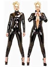 Sexy Damesbody Van Lakleer,Open Ritssluiting Kruis Paaldans Pak Clubwear Dames Wetlook Jumpsuit Leerlook Body Catsuit Glanzend, Zwart