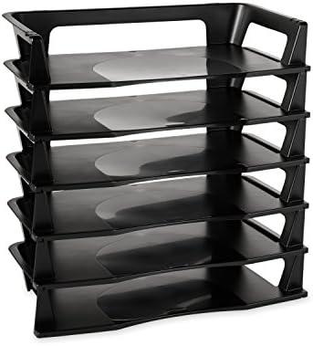 Rubbermaid Regeneration Letter Tray Six Tier Plastic Black 86028