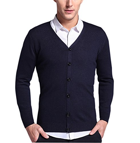Gihuo Men's Men's Casual Slim Fit V Neck Button Front Knit Cardigan Sweater (L, Navy) by Gihuo (Image #1)