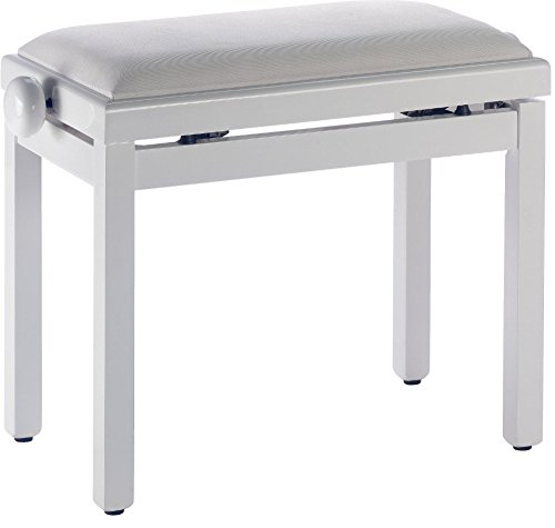 Stagg PB39 WHM VBE Piano Bench with Matte White Finish and Beige Velvet Seat