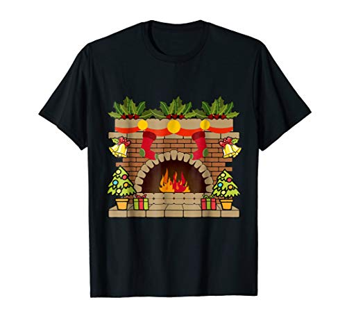 Lighted Fireplace T-shirt Xmas Presents Decoration