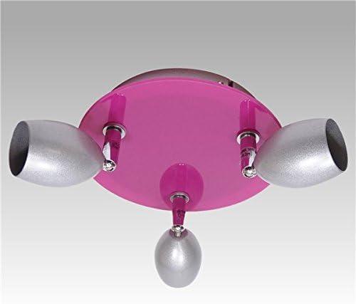 Autre - Plafonnier Design Gris et Fushia 3 lumières spots ...