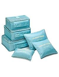 Bolsas organizadoras de equipaje de compresión Cubos de viaje embalaje 6 unidades ( 3 bolsa de malla, 3 lavandería bolsa), Bolsa de lavandería para paquetes de clasificación de ropa Ideal para organizar maletas de mano (Azul)