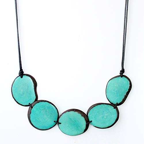 (Chips Tagua Necklace Aquamarine Handmade)