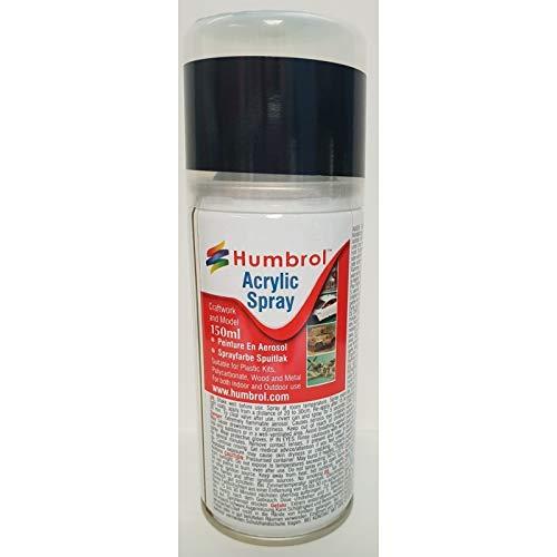 Humbrol Acrylic Spray Matt Shade 33 Paint Model Kit, 150ml, Black