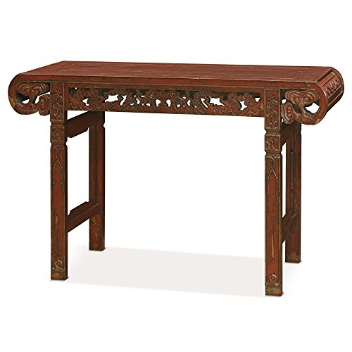 China Furniture Online Elmwood Console Table, Shang-Hai Altar Table Animal Motif Distressed Red Finish by ChinaFurnitureOnline