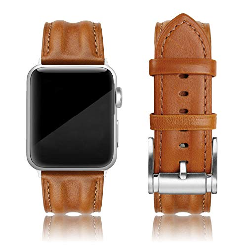 SWEES Leather Band Compatible with Apple Watch 42mm 44mm, Genuine Leather Classic Strap Wristband Compatible iWatch Series 4, Series 3, Series 2, Series 1, Sports & Edition Men, Saddle Brown