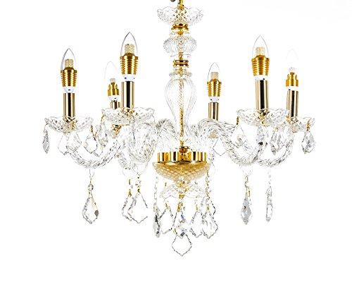 Broadway Gold Classic Crystal Chandeliers Modern Lamps Pendant Light Fixture BL-GJH/D-L6 W23 X H20 Inch