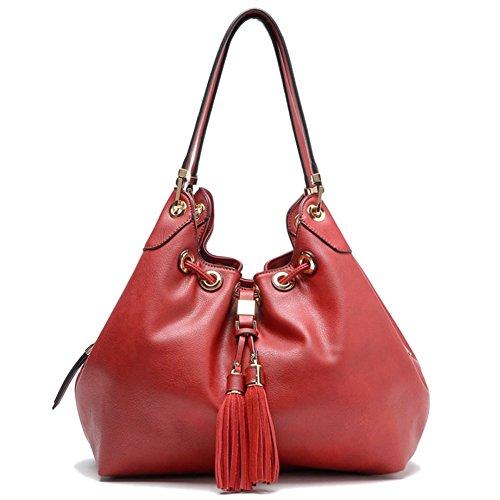 Red Hobo Tassel Handbag Drawstring Tosca H48qnIx