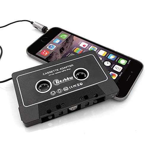 Reshow Cassette Adapter for Cars - Listen to iPods, Smartphones, MP3 Players or a Walkman in a Standard Vehicle Cassette Player - Vintage/Retro Music Converter (Best Car Cassette Adapter For Iphone)