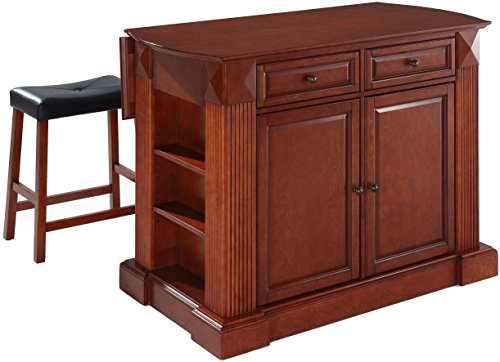 Crosley Furniture Drop Leaf Kitchen Island Breakfast Bar With 24 Inch Upholstered Saddle Stools   Classic Cherry