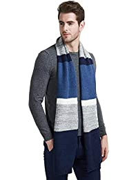 Men Winter Cashmere Scarf, Color Block Long Striped Scarf Wool Knit Fashion Scarves for Men/Women