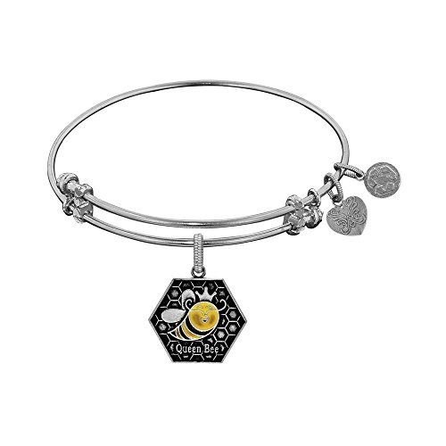 JewelryWeb Brass with White Finish Queen Bee Enamel Charm for Angelica Bangle Bracelet -  RCB319348