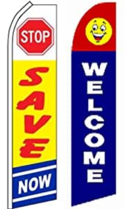 Business Advertisement Swooper Flutter Feather Flags 2 Pack-Stop Save-Welcome