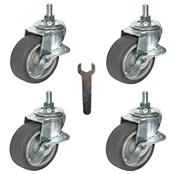 "Caster Wheels, Stem Casters Set of 4, 3 Inch 3/8""-16x1"" Threaded Stem Mount  Industrial Castors, Heavy Duty Rubber Locking Brake Swivel Wheel  Replacement for Carts Furniture Dolly Workbench Trolley: Amazon.com:  Industrial &"