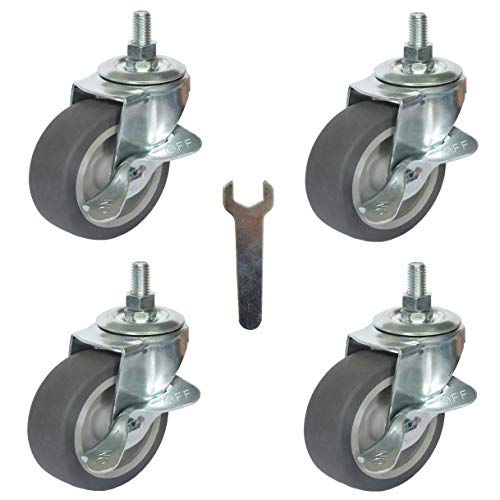 "4X Brake Stem Casters 3/8""-16x1""