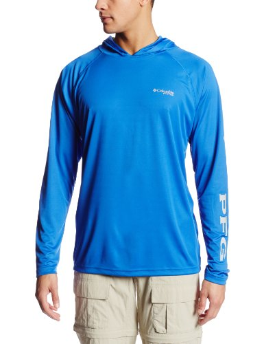 (Columbia Men's Terminal Tackle Hoodie, Vivid Blue, Cool Grey Logo, Large)