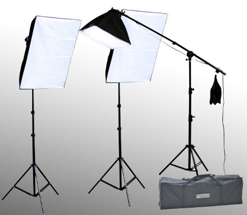 ePhoto VL9004BS2 2400 Watt Digital Video Continuous Lighting Stand Kit with Carrying Case with 2 Light and 1 Boom Stands, 12 total 45W 5500K Bulbs, 2 16x24-Inches and 1 16x16-Inch Softboxes