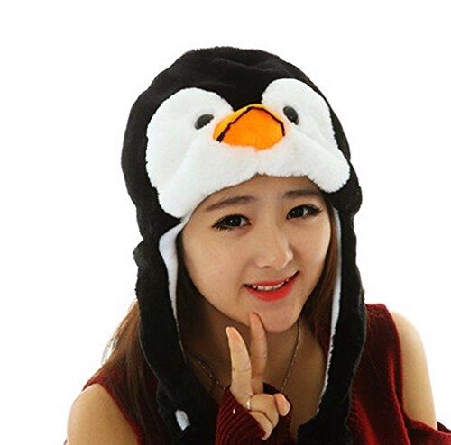 Child Plush Penguin Costumes (Yunko Soft Plush Faux Fur Animal Critter Winter Hat Winter Fashion Short Hat (Black penguin))