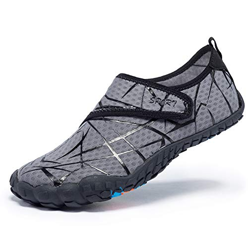 FEIFAN Water Shoes for Men Beach Swim Barefoot Quick Drying Outdoor Athletic Sport Shoes Velcro Grey 44