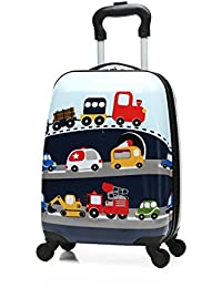 "18"" Kids Carry On Luggage Upright Hard Side Hard Shell Suitcase Travel Trolley Luggages ABS for School Girls Boys Teens (Car Pattern)"