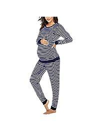 BEIGAIXLSBZ Women Maternity Nursing Pajamas Set Ultra Soft 2 Pcs Long Sleeve Blouse Stripe Sleepwear Set Suit Pregnancy Tops Pants Pjs