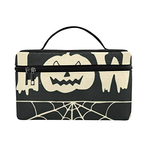 Hand Drawn Happy Halloween Lettering Pumpkin Lunch Box Tote Bag Lunch Holder Insulated Lunch Cooler Bag For Women/men/picnic/boating/beach/fishing/school/work ()