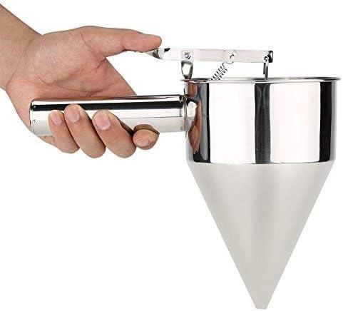 Broco Masa Gofres, embudo para hornear Dispensador de masa para panqueques de gofres Embudo para hornear de acero inoxidable Postres para pastel ...