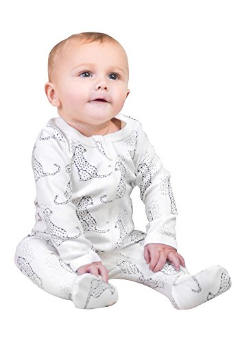 Owlivia Baby Organic Cotton Zip-Up Sleep N Play (0-3 Months, Leopard)